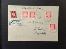 Jersey 1941 Arms 4 x 1d Chalky Paper + 1 1/2d KGVI on Registered cover