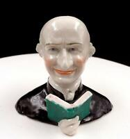 "STAFFORDSHIRE PORCELAIN FRIAR / MONK WITH BOOK 4 5/8"" FIGURAL MATCH HOLDER"