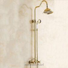 "Gold Polished Brass Bathroom 8"" Rain Shower Head Kit Shower Faucet Set Mixer Tap"