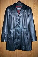 WILSONS LEATHER Black 4 Buttons Belted 3/4 length Thinsulate Coat Size M