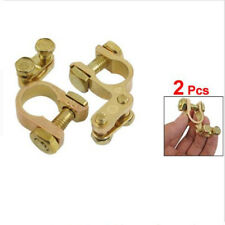 2 X Auto Car Gold Battery Terminal Clamp Clips Brass Connector Durable