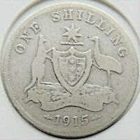 1915 AUSTRALIA George V, Silver One Shilling, Grading VERY GOOD.