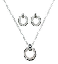 Montana Silversmiths -  Sparkly Horseshoe / Twist Rope Jewellery Set-( JS1057 )