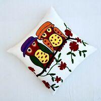 Suzani Owls Cushion Cover 16x16 Boho Embroidery Decorative Cotton Pillow cover