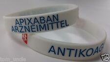 2x APIXABAN Arzneimittel Antikoagulans Medicated Medical Alert Armband DEUTSCH
