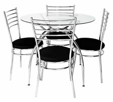 Hygena Lusi Glass Dining Table and 4 Chairs Modern Table with Chrome Legs New