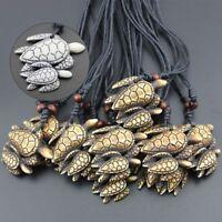 Blessing Carved Turtle Pendant Imitation Yak Bone Necklace Amulet Jewelry