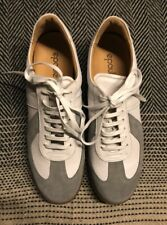 Epaulet white alabaster calfskin & grey suede leather sports trainers in size 12