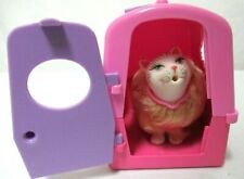Vintage Barbie Cat Kitty w/ Carrier Kinnel 1993 Marshmellow long hair w/ Tail
