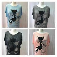 Ladies Women Summer T-Shirt Top Short Sleeve Casual  T-Shirt Blouse Cat Print
