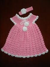 Set of pink & white baby dress & headband for 12-15 month-old handmade crochet