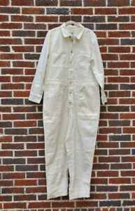 NEW WOMEN'S XL MADEWELL GARMENT DYED RELAXED COVERALL JUMPSUIT IN ANTIQUE CREAM