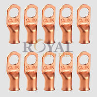 "(10) 4 Gauge Copper Non-Insulated 3/8"" Ring Terminals"