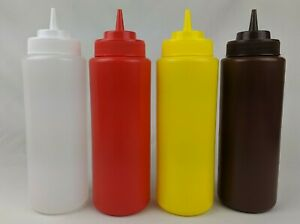 32oz Condiment Squeeze Bottle Clear Red Yellow Ketchup Mustard BBQ Sauce Kitchen