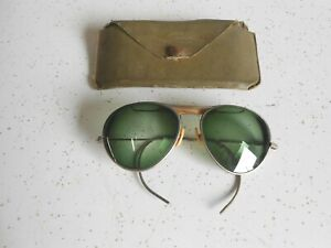Vintage Aviator Sunglasses Ear Loop with Prescription Lenses and Case Unmarked