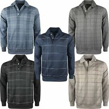 Mens Check Knitted Long Sleeve Polo Sweatshirt Buttoned Jumper Sweater Pullover