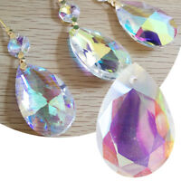 10/50Pcs Chandelier Pendant Glass Crystal Prism Hanging Drop Jewelry Making DIY