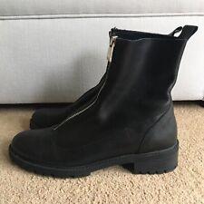 Womens Zara Black Leather Biker Boots With Zip UK 7 EU 40