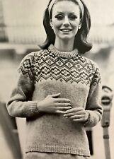 FL95 - Vintage Knitting Pattern - Lady's 'Brora Soft Spun' Fair Isle Aran Jumper