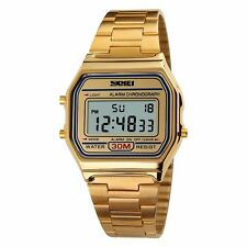 Mens LED Digital Wrist Watch Date Day Sport Army Gold Stainless Steel Vintage
