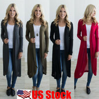 US Women Open Front Long Sleeve Cardigan Tops Blouse Casual Long T Shirt Outwear