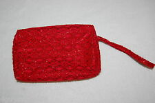 "Cosmetic Bag Wristlet Purse Elegant Red Sparkles Zip Close Makeup 7x4.5x1.4.5"""
