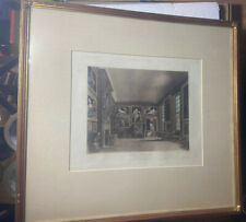 Antique Engraving Aquatint THE QUEEN'S BED CHAMBER KENSINGTON PALACE WJ BENNETT