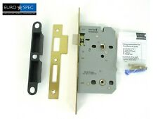 Eurospec Easi-T Contract Din Bathroom Lock 55mm Backset Brass - [DLE7855WC]
