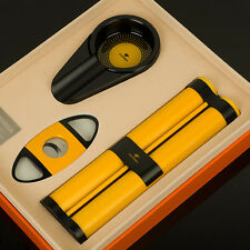COHIBA 2 Cigar Metal Holder Tube Humidor Stainless Steel Cutter Ashtray Gift Set