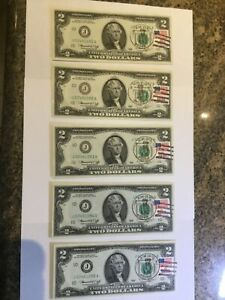 1976 $2 Dollar Bill Flag First Day Stamp Issue *5* Consecutive Gem Unc Notes 303