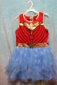 NEW⚜Girl's size L (10-12) Cosplay Mesh printed Dress Wonder Woman 84~gold/red