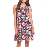 NEW $59 Nordstrom Halogen Abstract Print A-Line Dress XL (petite/misses)