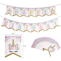 Unicorn Garlands Banners Cupcake Topper Happy Birthday Banner Birthday Decor
