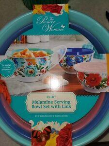 Pioneer Woman Delaney Melamine Serving Bowl Set With Lids