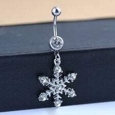 Stainless Steel Snowflake Rhinestone Navel Belly Button Ring Bar Body Jewelry