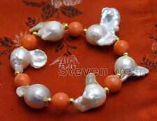 20-35mm White Baroque Natural Nuclear pearl and 9-10mm Coral 7.5'' Bracelet-b392