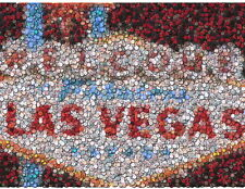 Fabulous Las Vegas Sign Poker Chip Mosaic Print w/COA