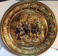 """vintage 10"""" embossed copper art decorative plate / assiette de cuivre ancienne"""
