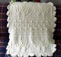 "Aran Tree Pattern Baby Blanket with Tulip Bud Border  26"" x 34"" Knitting Pattern"
