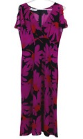 Table Eight Womens Black/Pink Floral Short Sleeve High Waisted Dress Size 12