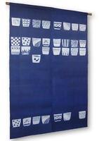 Noren Mitsuru Japanese linen door curtain kusakizome soba choko 88 x 150cm