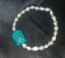 Magical Freshwater Pearl Stretchy Bracelet & Turquoise Buddha Head, Reiki ZEN