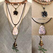 Necklace 3 Pc Set Crazy Lace Teardrop & Dragonfly Rose OOAK Artisan USA 1653