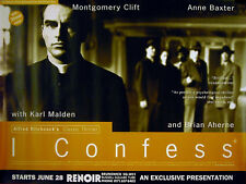 I CONFESS 1953 Alfred Hitchcock, Montgomery Clift, Anne Baxter UK QUAD POSTER