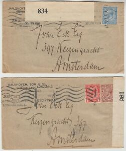 MILITARY 1918/19 2x CENSOR covers *LONDON-AMSTERDAM*