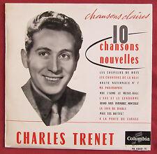 """CHARLES TRENET  25 CM 10"""" LP ORIG FR CHANSONS CLAIRES 10 CHANSONS NOUVELLES"""