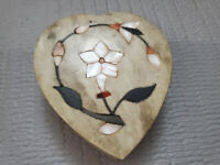 Vintage Soap Stone Heart Shape Trinket Box Floral Inlaid 4'' by 3.5''