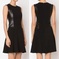l'agence Womens Leather Panel Sleeveless A-line Midi Dress Lamb Leather 6 Black