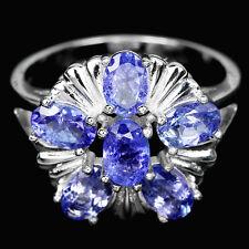Sterling silver 925 Genuine Deep Blue Violet Tanzanite Ring Size R1/2 (US 9)
