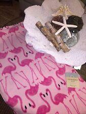 NWT Cynthia Rowley Plush *Hot PINK ON PINK FLAMINGOS* Beach Towel  36x68